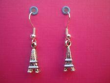 Funky Plata Mini Eiffel Torre Aretes Kitsch Retro Lindo Paris Amor Francés Chic