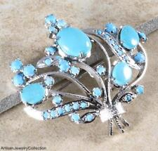 TURQUOISE & RHODIUM PLATED 925 Silver BROOCH PENDANT