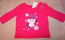 NWT Infant Girls TCP Christmas LS Shirt 6m - 9m Hot Pink Snowman 6-9m  NEW