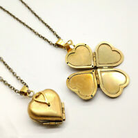Folding 4 Photos Album Locket Pendant Heart Clover Necklace Family Tree Necklace