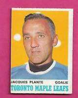 1970-71 OPC # 222 LEAFS JACQUES PLANTE GOALIE GOOD CARD (INV# C7313)