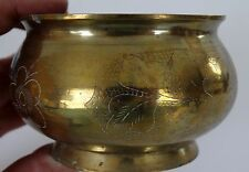 Solid Brass Etched Floral Ashtray Marked China