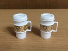 Barbie Doll 2 White Travel Coffee Cappuccino Latte Mocha Mug House Accessory Lot