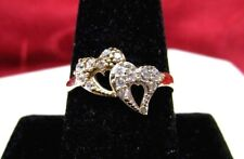 NG 10K YELLOW GOLD ZIRCONE CZ DOUBLE KNOT HEART LOVE RING SIZE 9