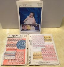 3 Vintage Smocking Transfer Sewing Patterns Advance McCall's Unlimited Infant