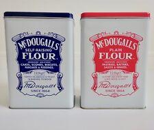 More details for mcdougall's flour tins x2 plain flour self-raising flour retro style kitchen