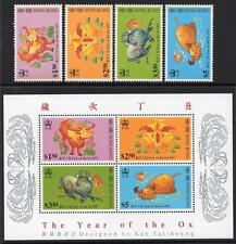 HONG KONG MNH 1997 Year of the Ox Stamps and Minisheet