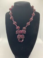 Vintage Bohemian Natural Garnet Cluster Bead Necklace 63.3g #RDC