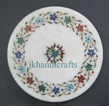 """10"""" Marble Chapati Maker Kitchen Utilities Floral Inlay Art Home Decor Gifts"""