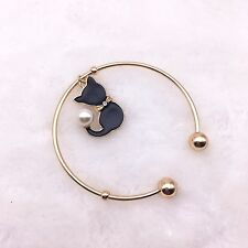Fashion Charm Jewelry Woman Gold Open Bangle Pearl Cat Pendant Bracelet JZ33