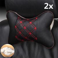 2x PU Leather Cloth Car Headrest Pillow Seat Head Neck Rest Cushion Accessories
