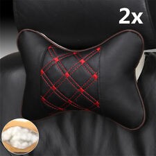2x PU Leather Cloth Car Headrest Pillow Seat Head Neck Rest Cushion Accessories