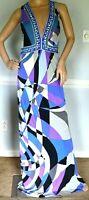 Emilio Pucci Signature Print Silk Long Maxi Dress Runway Gown US 8 10 / IT 44