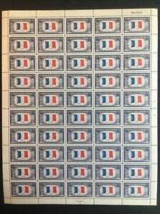 1943 sheet, France Overrun Country Sc# 915