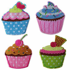 Cute Vintage Cupcakes Iron Sew on Appliques Patches Embroidered Chic Ice Cream