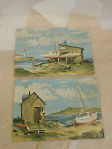 Vintage Pair of Paint By Number Mid Century Modern 1950s Boating Scene