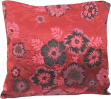 Deep Red & Black Wovern Brocade Cushion Cover Made in The UK