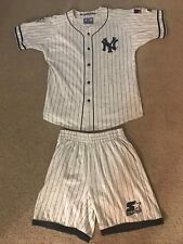 VINTAGE PINSTRIPE NEW YORK YANKEES THROWBACK JERSEY & SHORT SET STARTER L LARGE