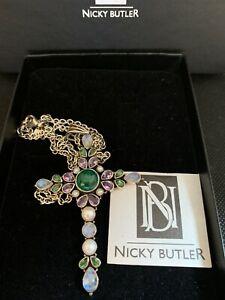 Nicky Butler Pendant Chain & Necklace Silver Amethyst Moonstone Green Cross NIB