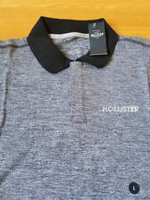 NWT Men HOLLISTER Snap Front Polo Tee Gray/Navy Large Short Sleeve