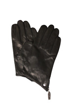 Vince Camuto Women's Black Leather Zipper Gloves, Size XL