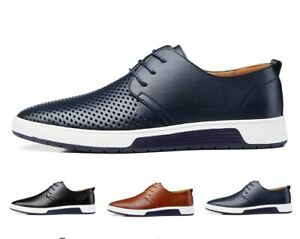 Men's Oxford Genuine Leather Casual Dress Sneakers Lace up Business Oxford Shoes
