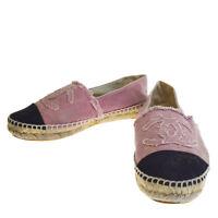 Authentic CHANEL CC Logos Flat Shoes #37 Canvas Linen Pink Vintage 09EP019