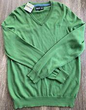 NWT Barbour V Neck Logo Cotton Cashmere Blend Sweater Green Mens Size Medium