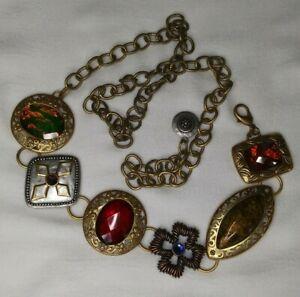 "Chicos Silver & Gold Two Tone Multicolor Hip Chain Concho Belt 50"""