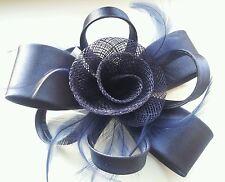 Beautiful  Navy Blue  feather & flower design facinator wedding 019