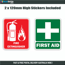 Fire & First Aid Sticker Set 12cm x 10cm Car Window Emergency Kit Decal #F015