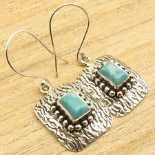 925 Silver Overlay Blue Simulated LARIMAR STAMPING Fashion Earrings 1.5""
