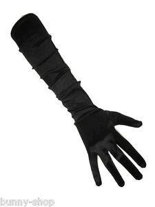 Elegante ca 48cm lange schwarze Satin Handschuhe Karneval GOGO von PartyXplosion