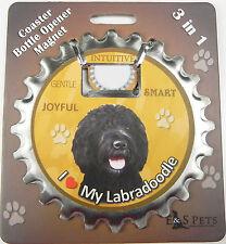 Labradoodle (black) dog coaster magnet bottle opener Bottle Ninjas magnetic