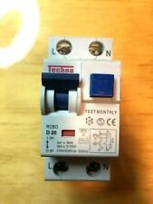 Techna D20 Rcbo circuit breaker 20A 6kV 30mA with a test button. Curve type D
