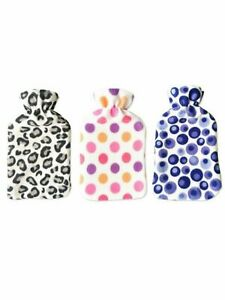 2L Hot Water Bottle With Cover Warmer Natural Rubber / Soft Fleece Choose Colour