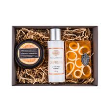 Present Set For Women Natural Bath Soap Body Scrub & Cream Grapefruit Scent Gift