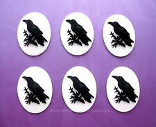 6 BLACK BIRD GOTH CROW RAVEN on WHITE Color 25mm x 18mm Costume Jewelry CAMEOS