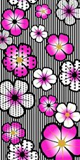Pink Exotic Flowers Beach Towel