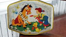 Vintage Horner Sweet Tin C1950s 1960s with Girl With Horse Cartoon Dog & Carrots