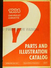 1984 Only Chevrolet Corvette Illustrated Maestro Partes Libro Catalog Originales