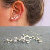 Women Gift Leaf Shape Ear Crawler Ear Climber Cuff Earrings Stud Earrings