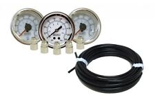 "Viair 3 Gauges 220 PSI White Face W/ 1/4"" X 1/8"" Fittings +50 FT 1/4"" OD Airline"