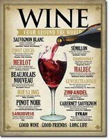 Wine From Around the World Funny Restaurant Bar Wall Decor Metal Tin Sign New