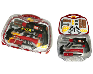 BOYS KIDS CHILDRENS ROLE PLAY BUILDER TOY 23pc TOOL SET & CARRY CASE WITH DRILL