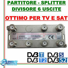 PARTITORE / DIVISORE / SPLITTER 6 OUT PER TV - SAT - SCR CON CONNET. F 410053