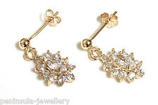 9ct Gold CZ Cluster Drop earrings Made in UK Gift Boxed