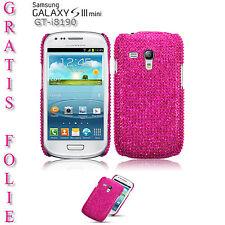 Diamant Strass Bling Schutz Hülle Case f Samsung Galaxy S3 Mini i8190 Pink Folie