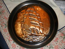 New listing Large copper marine ship charger-mid-century wall hanging; Ship in relief-nice