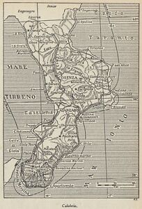 G9157 Calabria - 1953 Mappa epoca - Vintage map